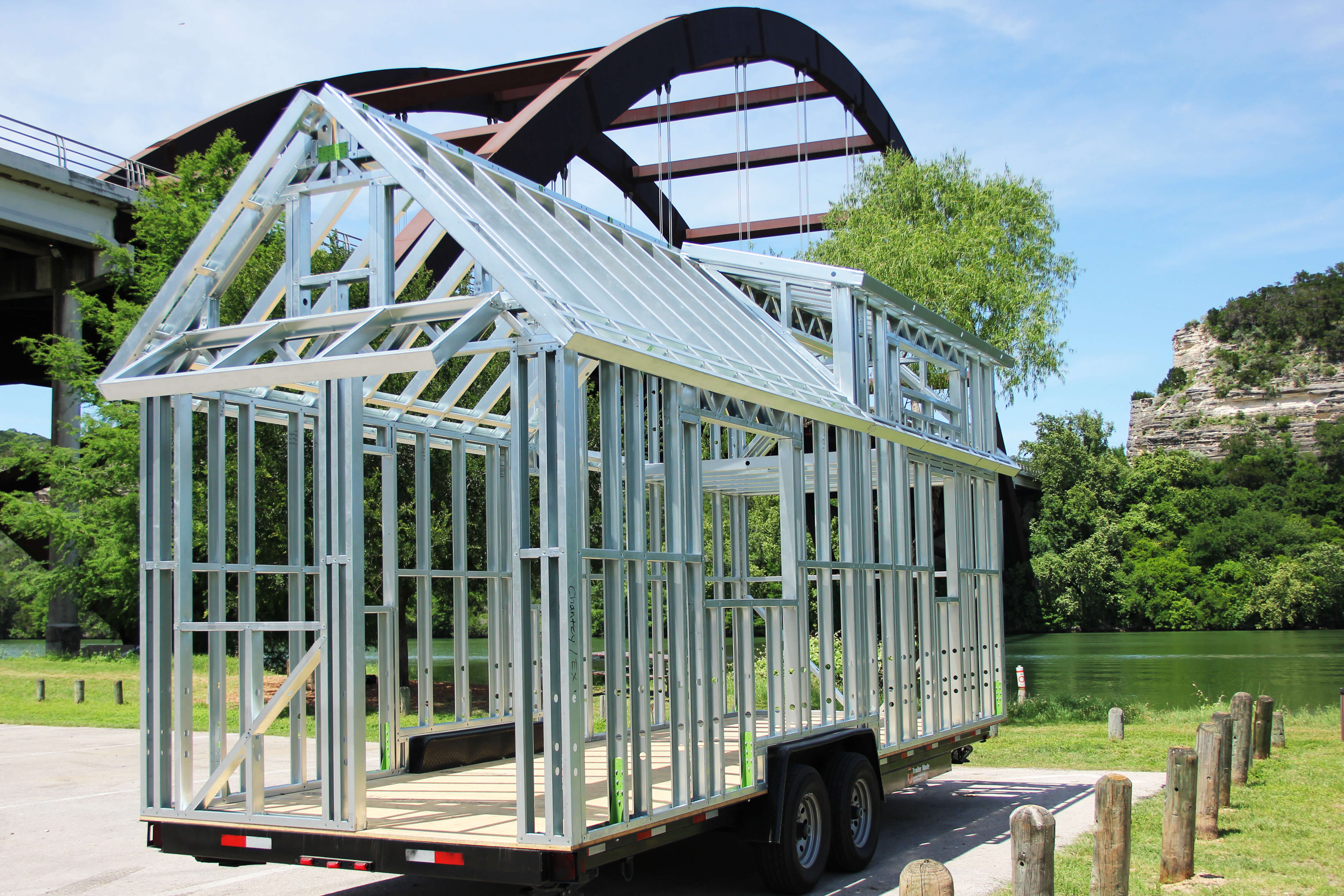 Steel frame trailer kits tiny house chattanooga for Steel a frame house kit